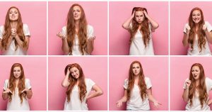 Eight photos of same woman displaying different emotions