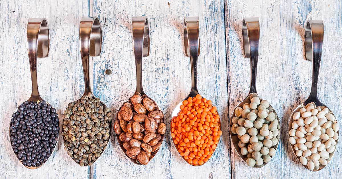 Six spoons in a row full of legumes on a wooden background.